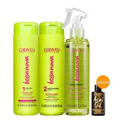 Kit Cadiveu Bossa Nova Shampoo 250ml + Condicionador 250ml + Maxi Ondas 215ml